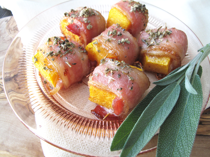 Bacon wrapped butternut squash