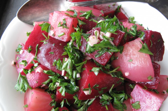 AIP / Paleo Red Beet Salad with Garlic and Parsley