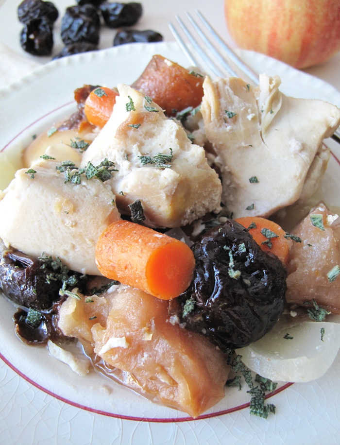 Paleo crockpot chicken with plums, carrots & apples - asquirrelinthekitchen.com