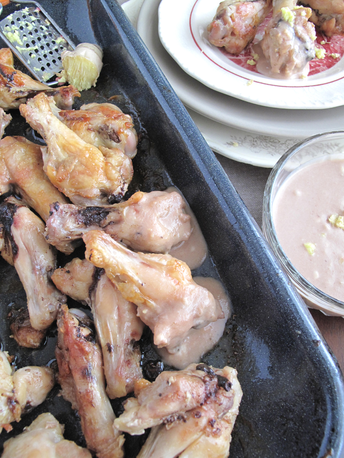 Oven roasted chicken wings with ginger sauce
