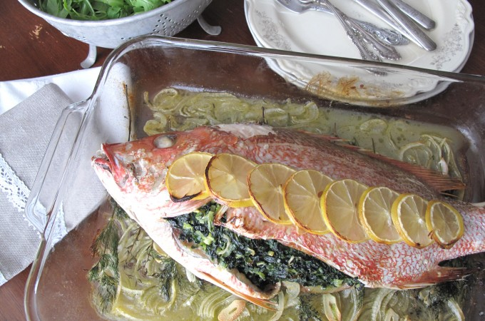 Paleo Provencal herb stuffed fish