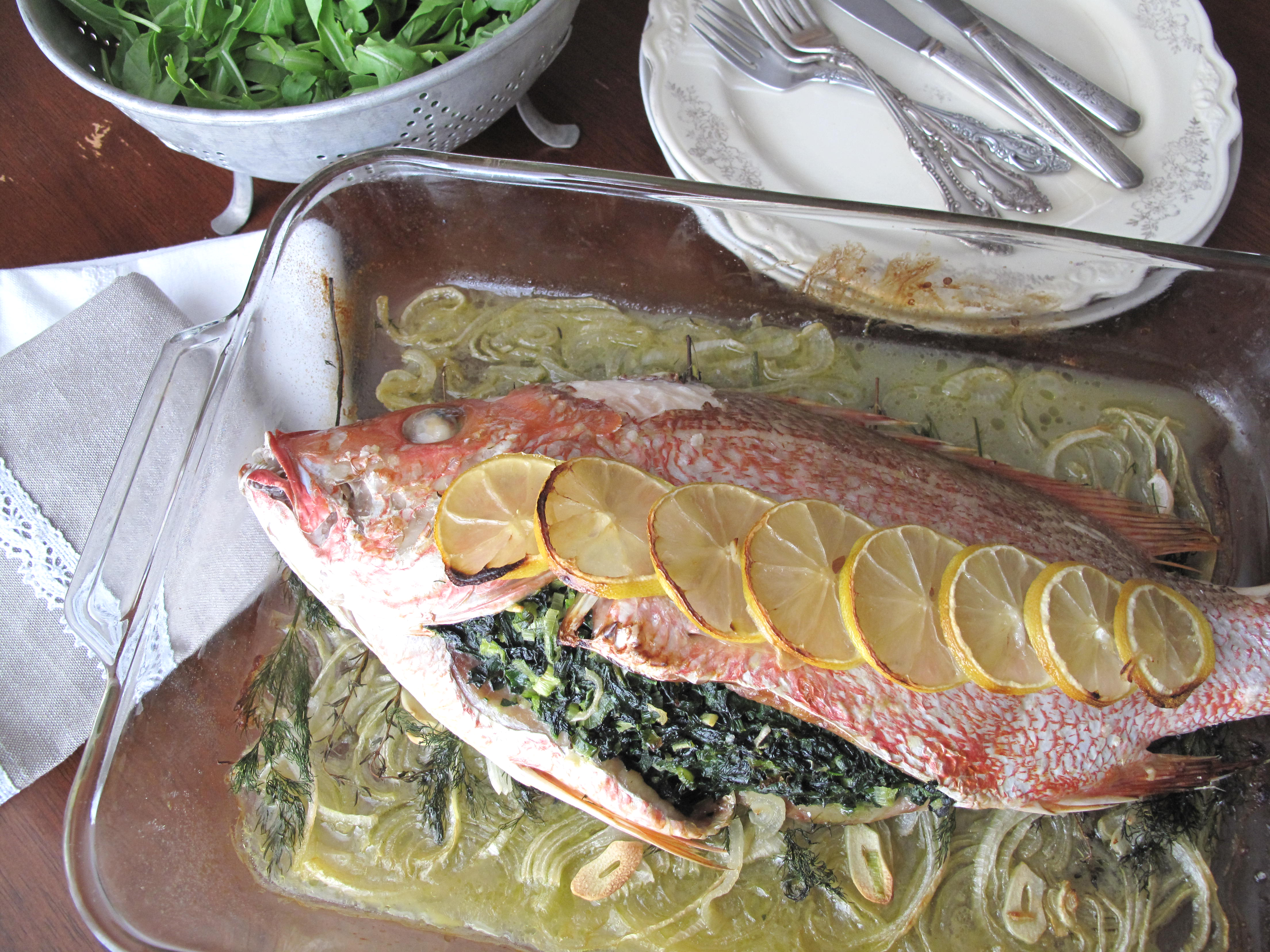 Aip proven al herb stuffed whole fish french paleo for Stuffed fish recipes