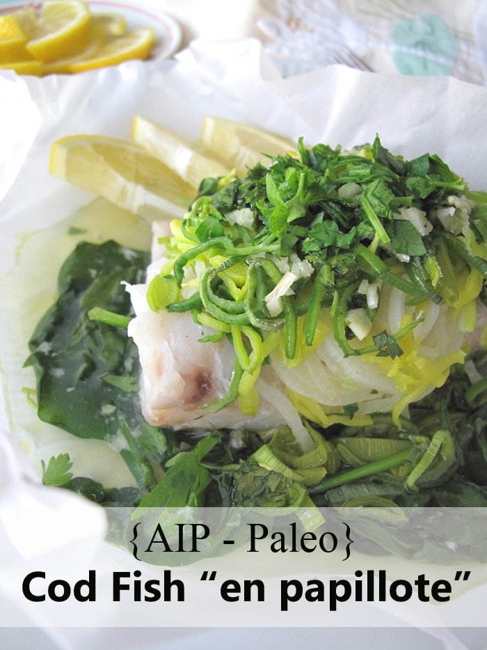 "AIP / Paleo Cod Fish ""En Papillote"" with Spinash and Leeks / A Squirrel in the Kitchen"