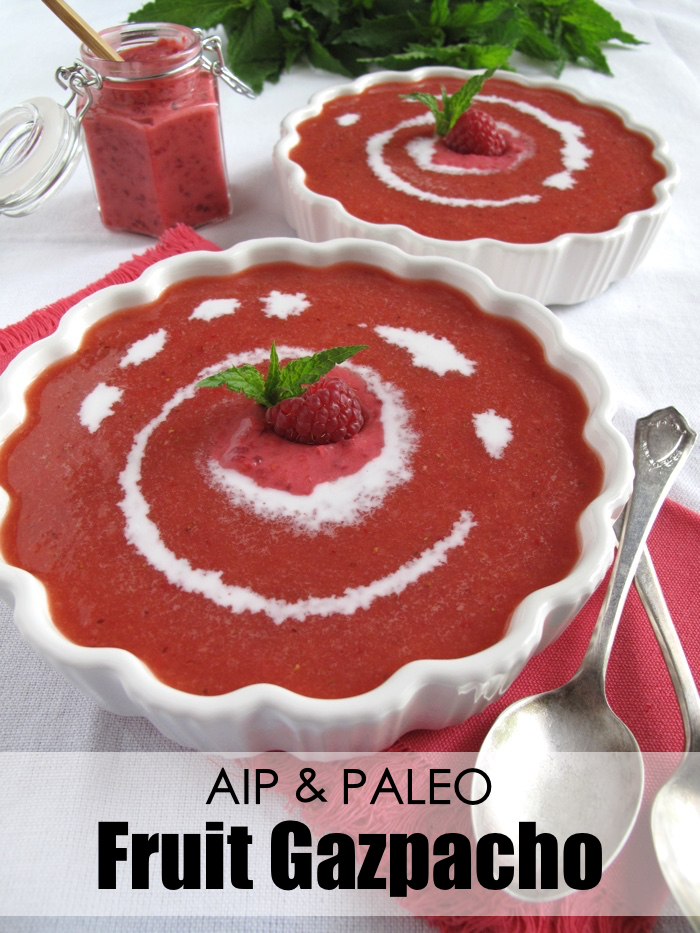 AIP / Paleo Summer Fruit Gazpacho - A Squirrel in the Kitchen