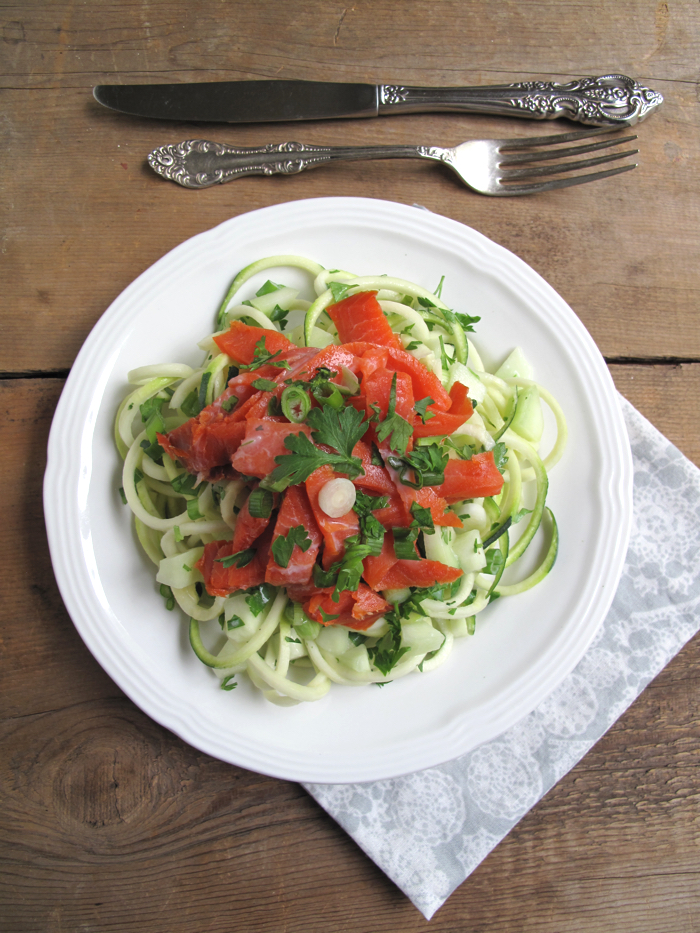 AIP / Paleo Smoked Salmon Salad with Zucchini Noodles - A Squirrel in the Kitchen