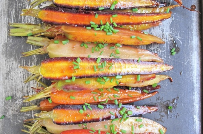 AIP / Paleo Oven Roasted Rainbow Carrots with Orange Glaze