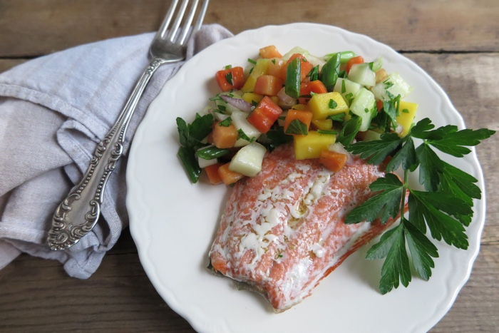 Oven Baked Salmon with Papaya-Mango Salsa