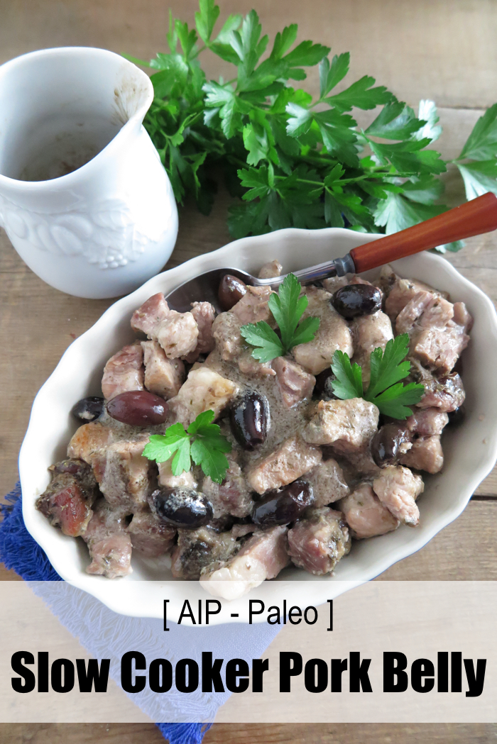 Slow Cooked Pork Belly with Black Olives and Garlic (Paleo, AIP, dairy-free)