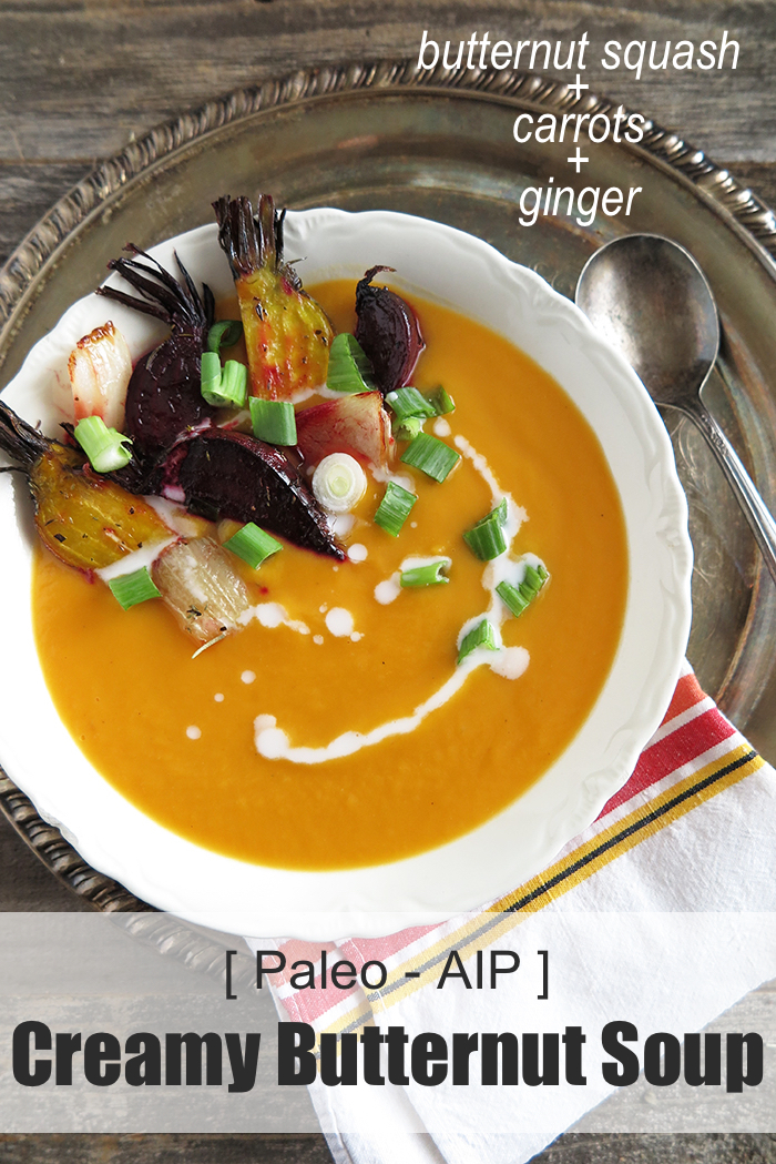 Creamy butternut squash, carrot and ginger soup (paleo, AIP) - A Squirrel in the Kitchen