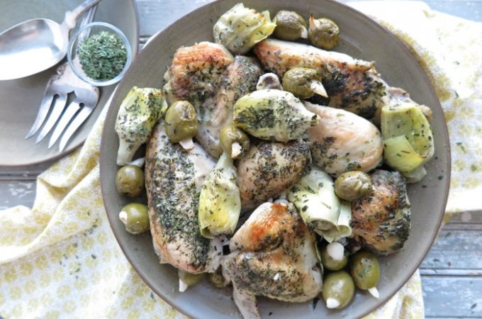 Chicken Bake with Artichokes and Green Olives [Paleo – AIP]