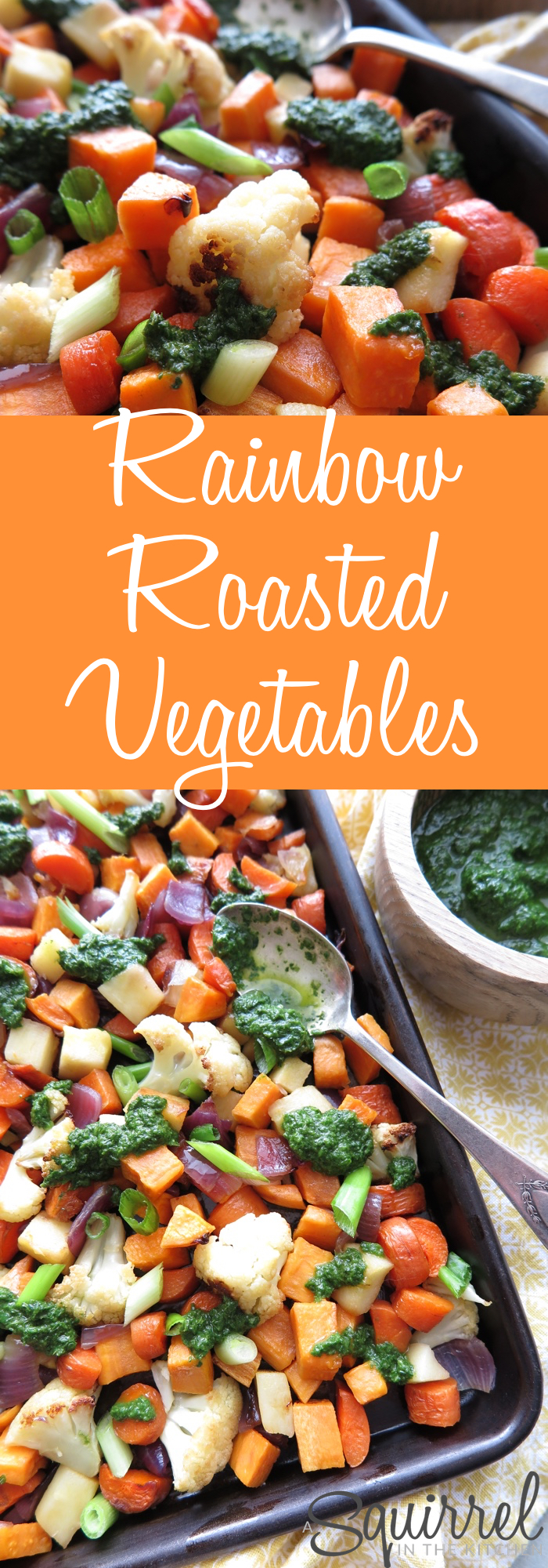 Rainbow Roasted Vegetables with Basil-Mint Pesto [ Paleo - AIP ]