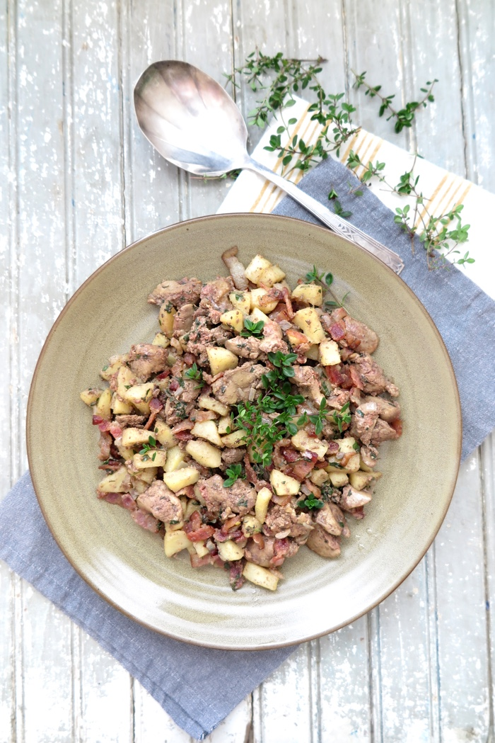 Apple, Bacon, and Chicken Liver Skillet [ AIP - Paleo